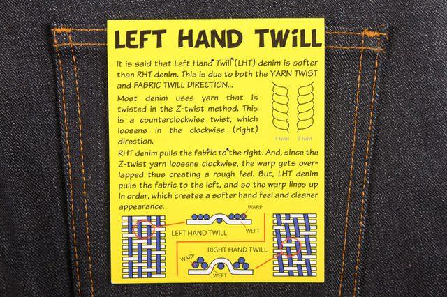 jean droitier gaucher tissage