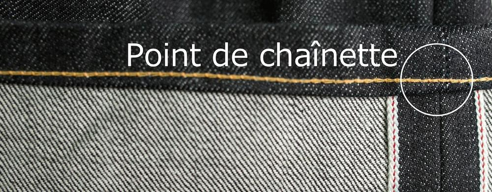 point de chainette jean homme