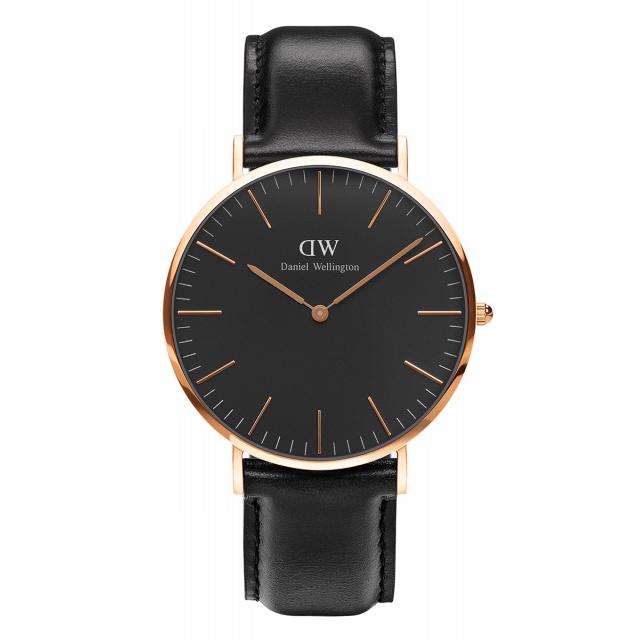 daniel wellington watch sheffield black strap rose gold