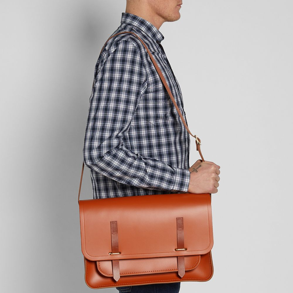the cambridge satchel company bridge closure bag amber tan homme sac