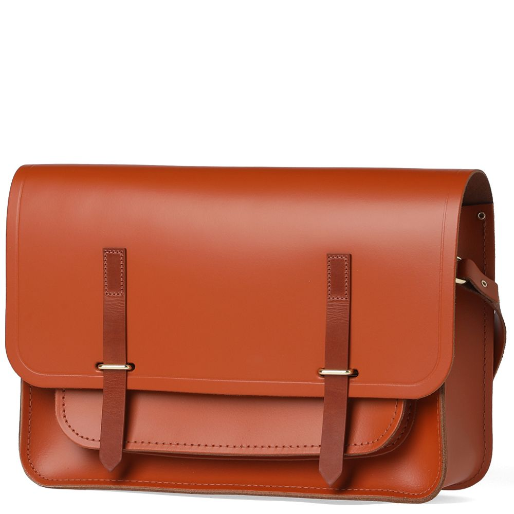 the cambridge satchel company bridge closure bag amber tan