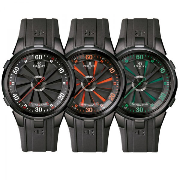 perrelet Turbine noir orange rouge montre homme