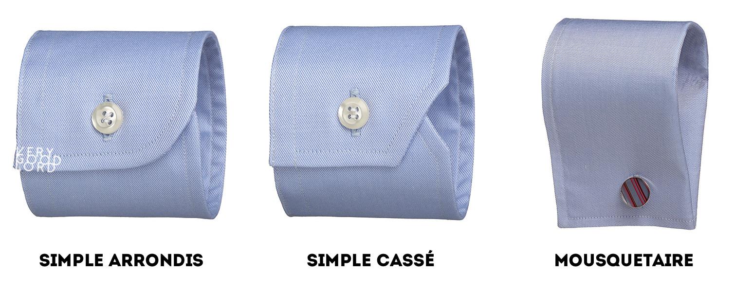 les types de poignets de chemise homme - verygoodlord