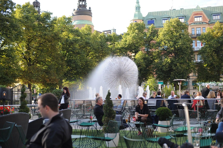 lancement VOLVO XC90 2014 Stockholm fontaine