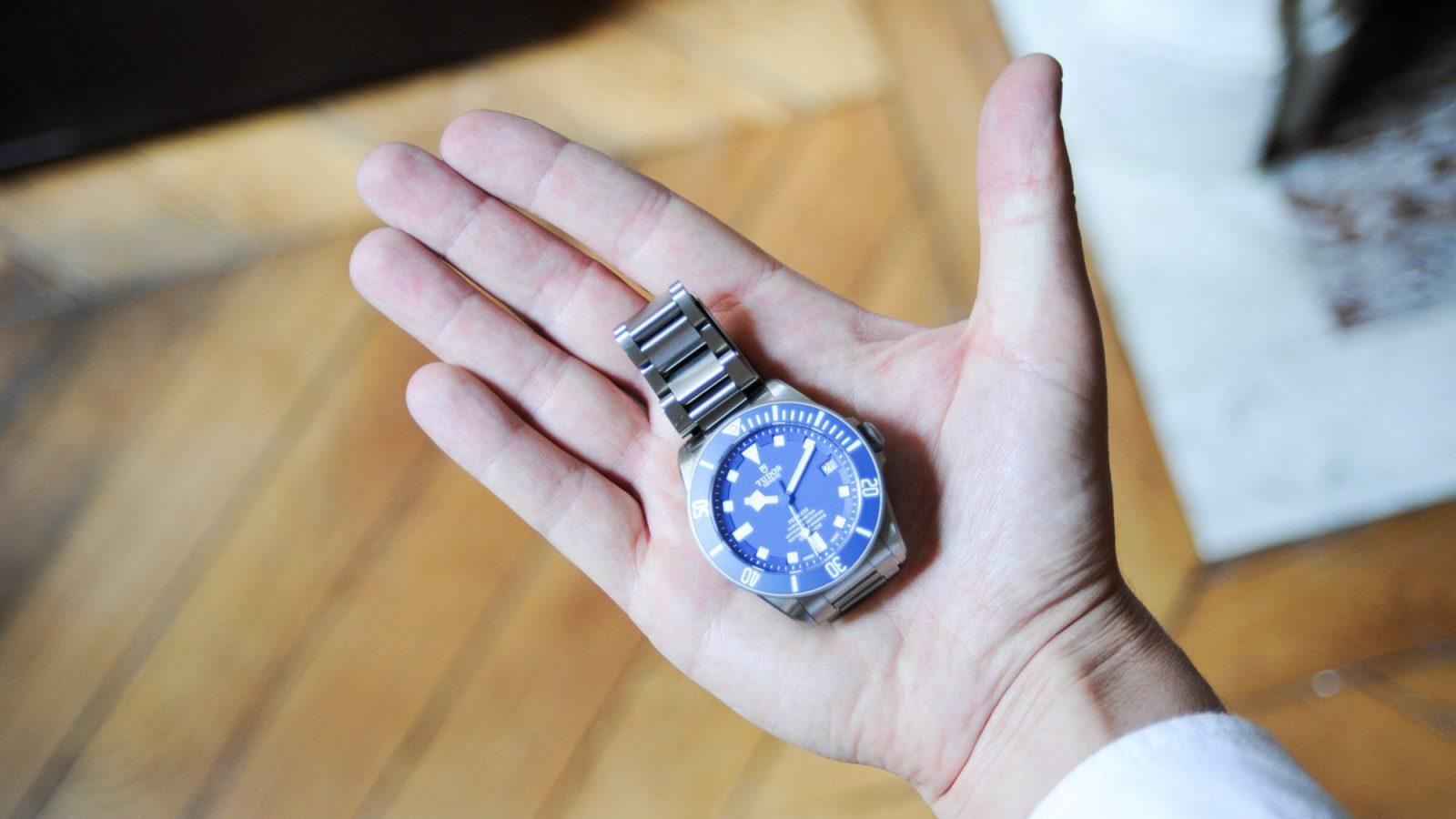 tudor pelagos blue in hand