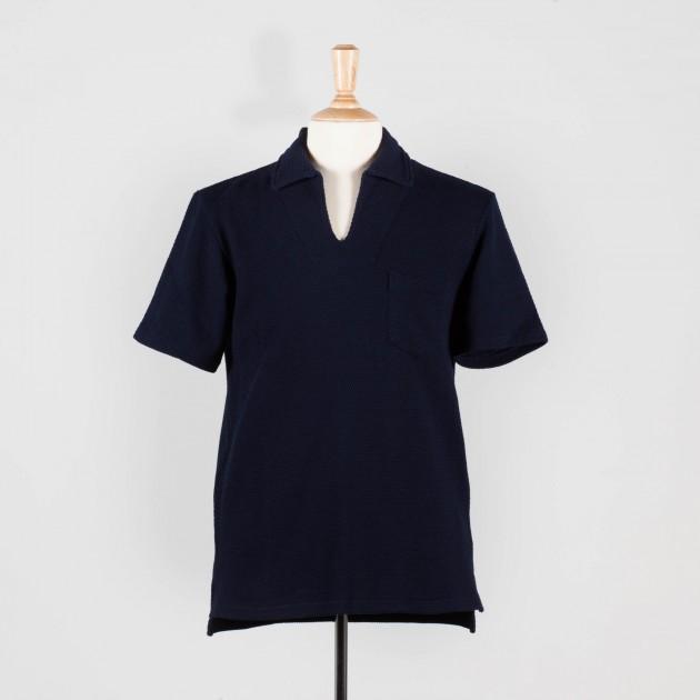 polo-col-ouvert-coton-texture-marine