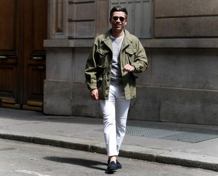 look homme veste kaki pantalon blanc sweat gris