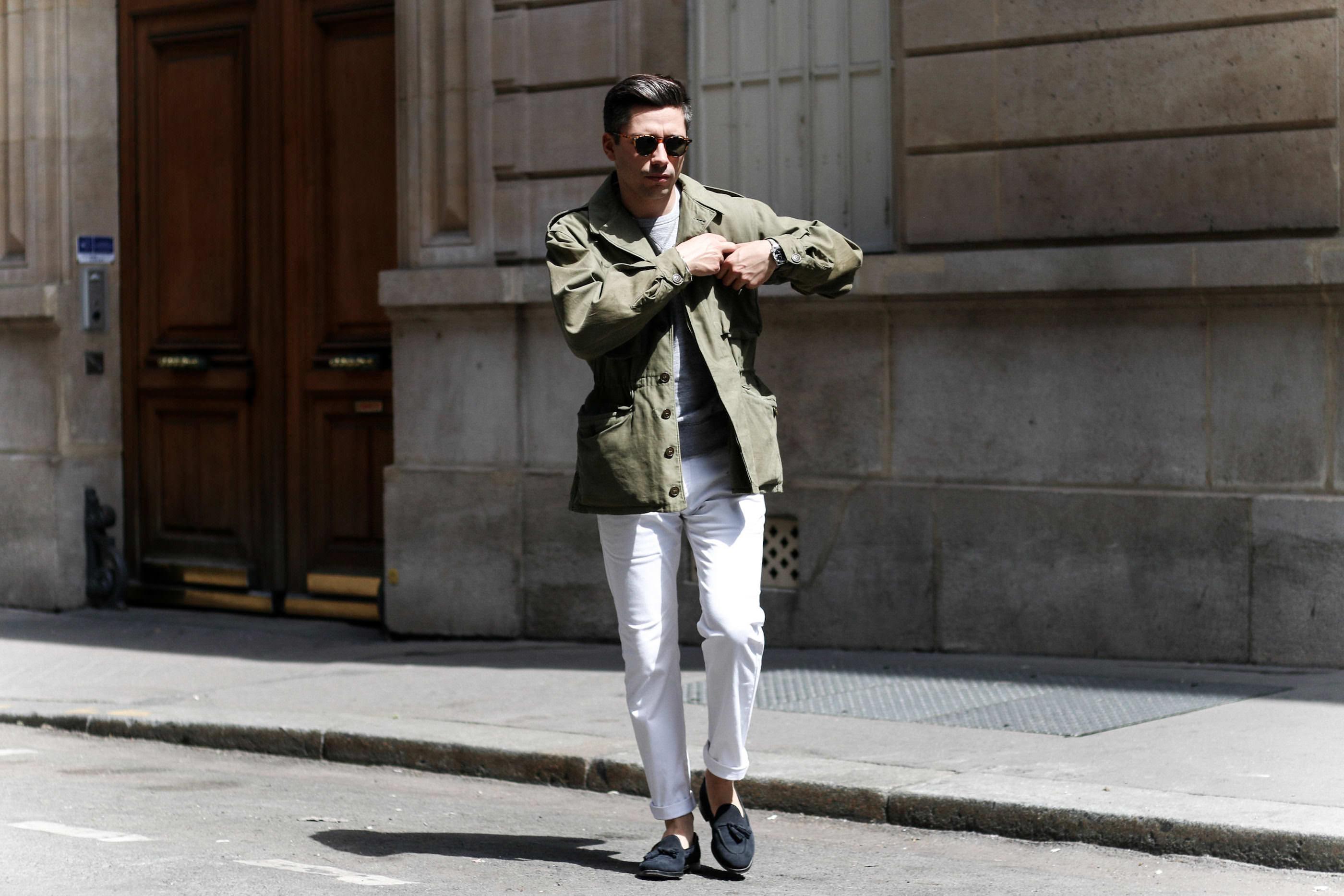 look veste militaire homme pantalon blanc