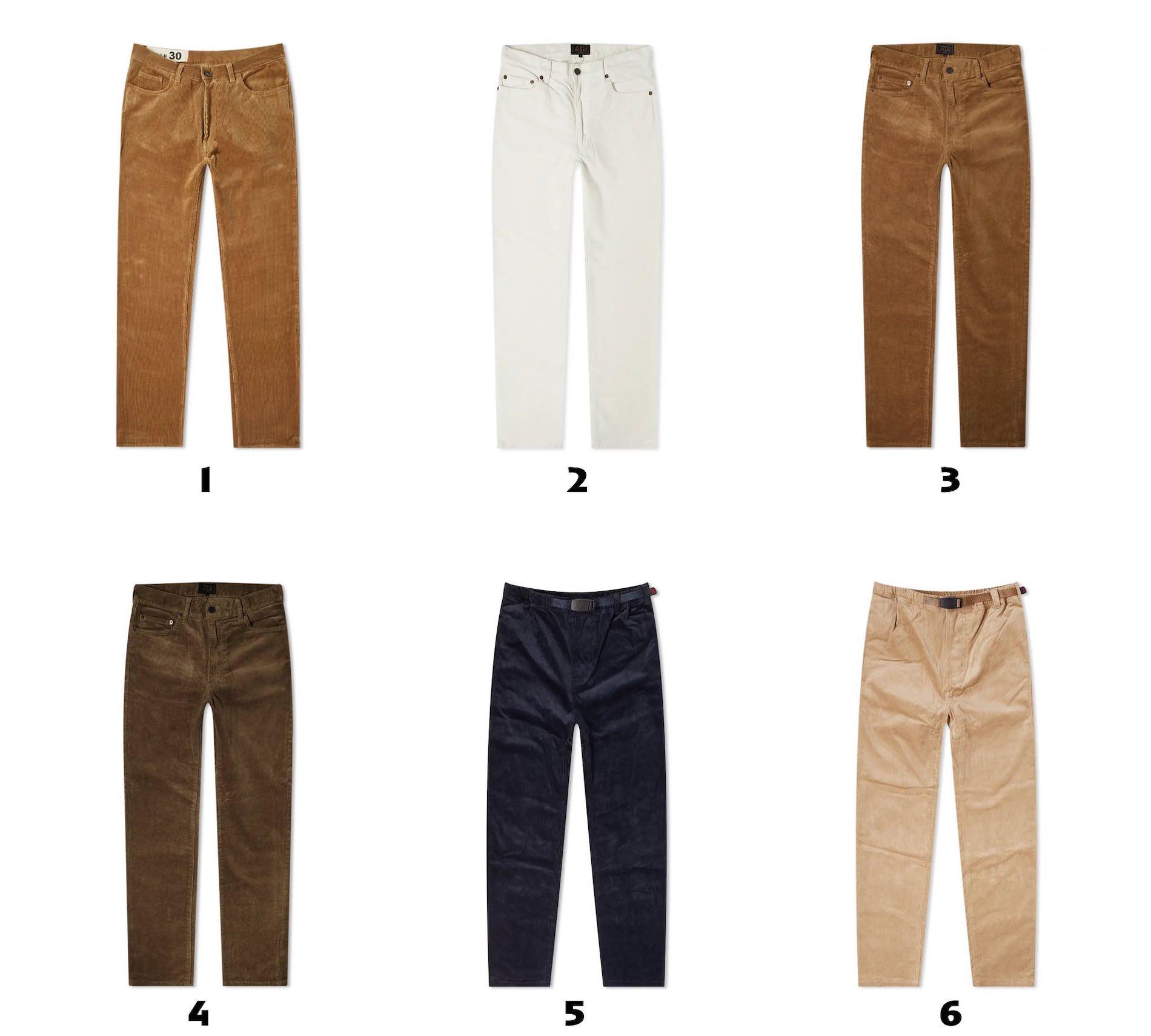 selection de pantalon en velours cotele homme