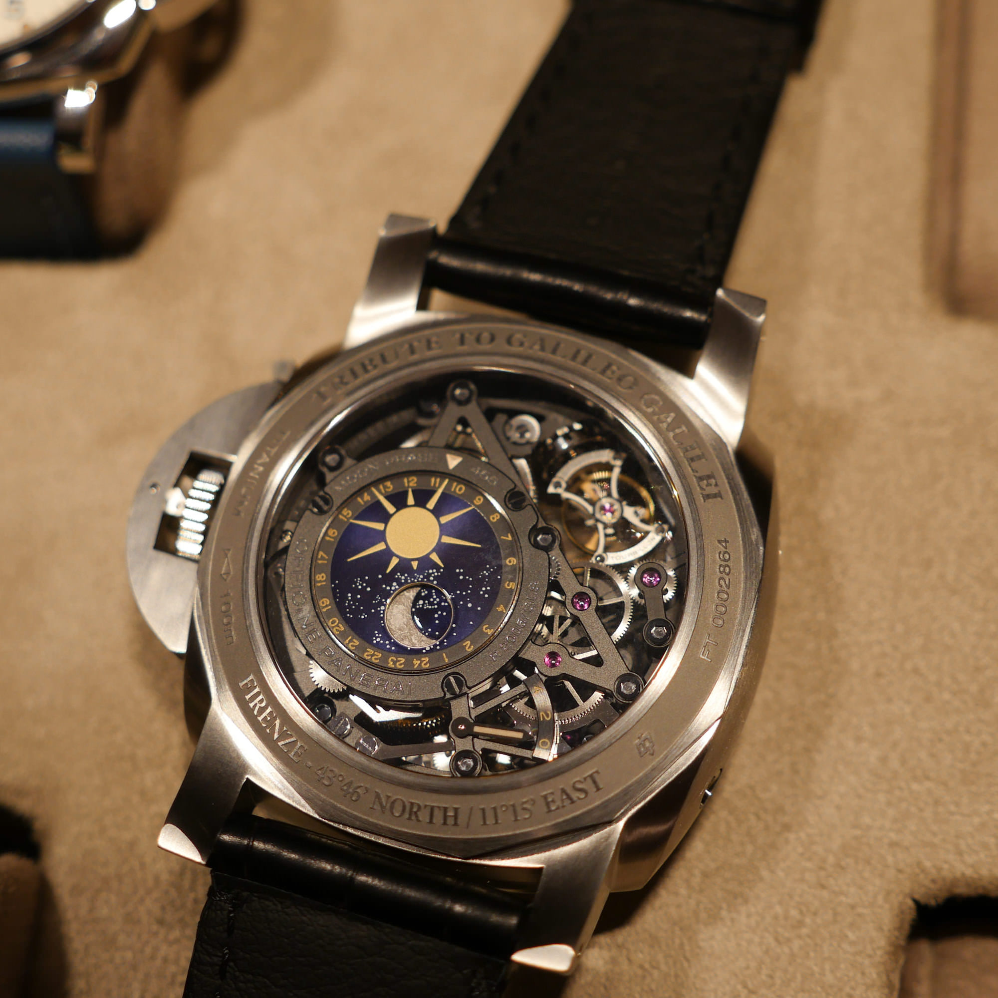 Astronomo Luminor 1950, Tourbillon Phase de Lune, GMT, 50mm caseback dos
