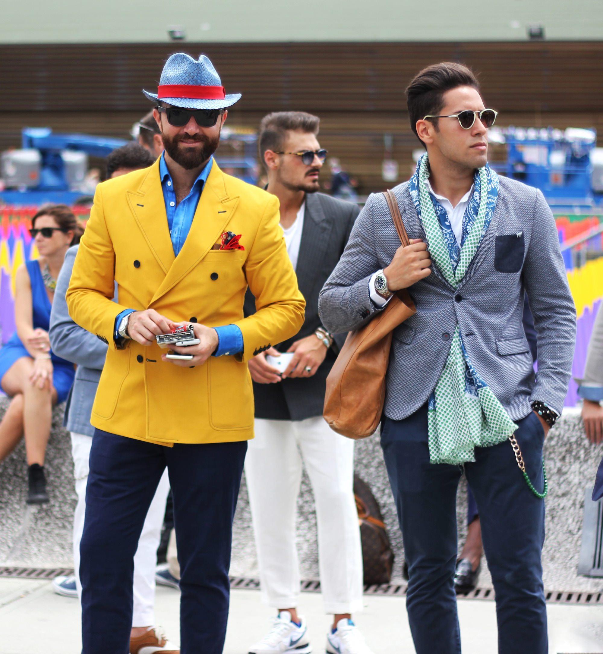 pitti uomo yellow jacket style men hat scarf bag blue