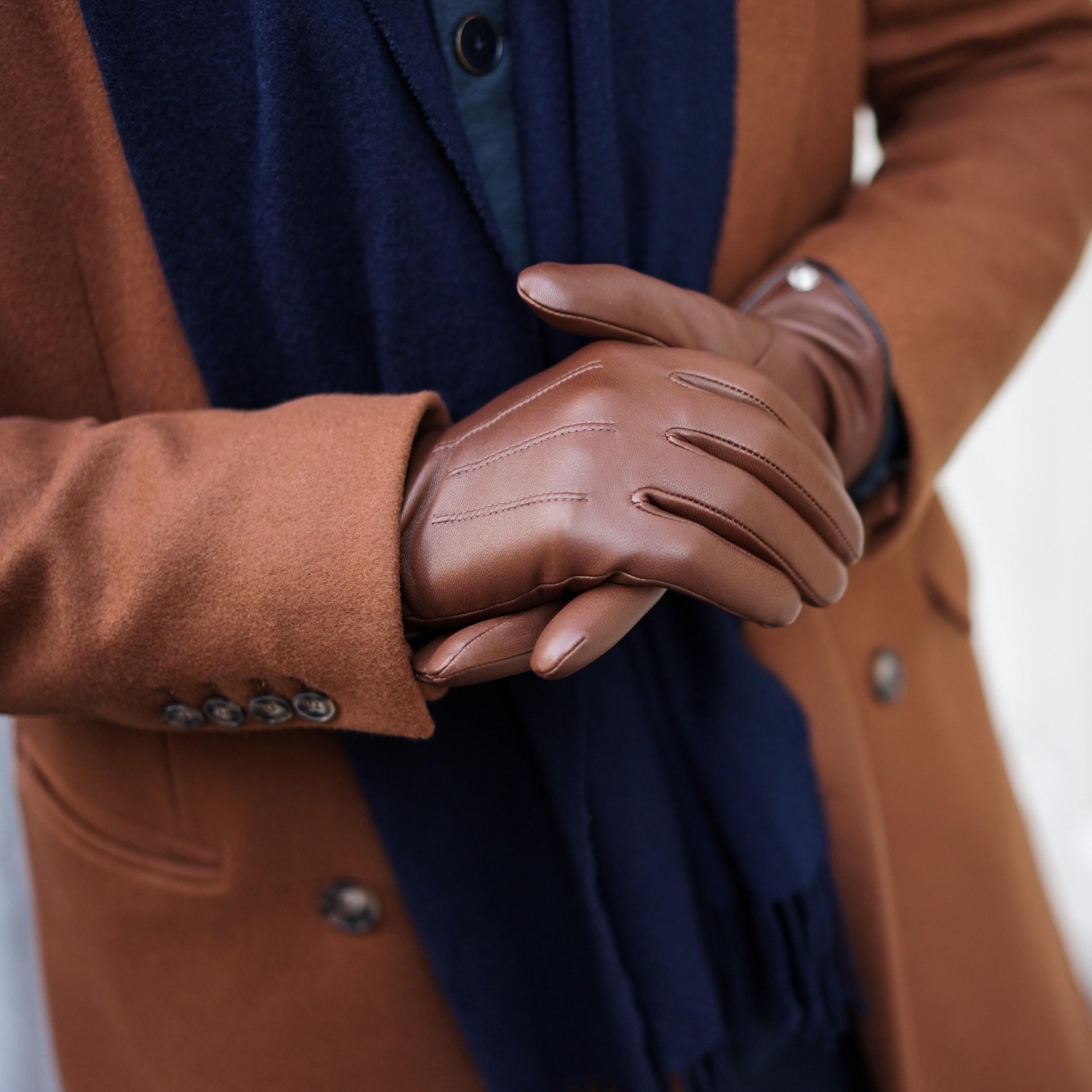gants cuir homme marron hiver