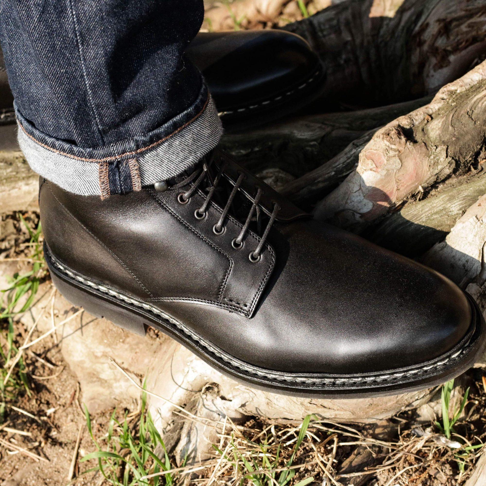 boots cuir noir homme