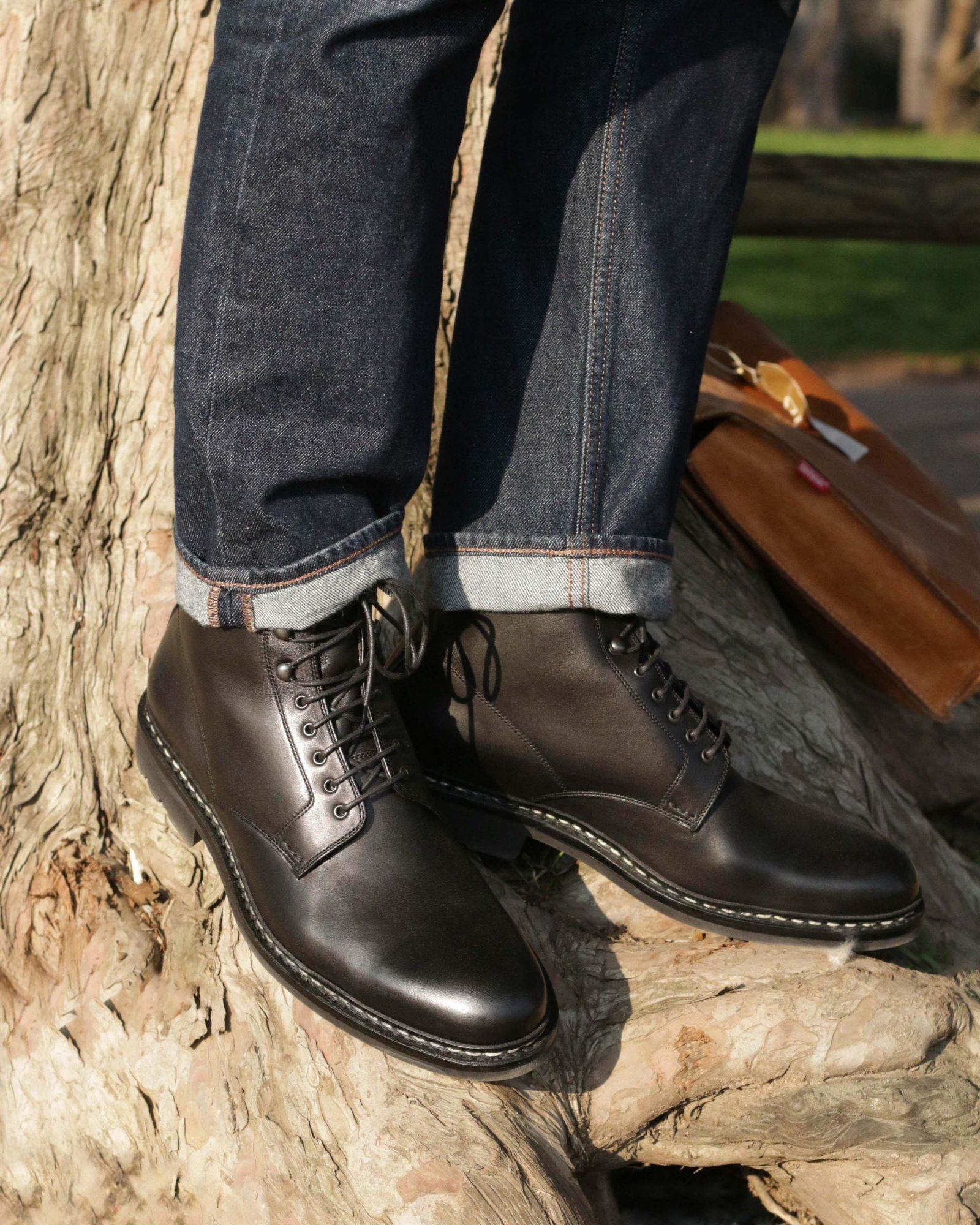 boots noire homme a lacets