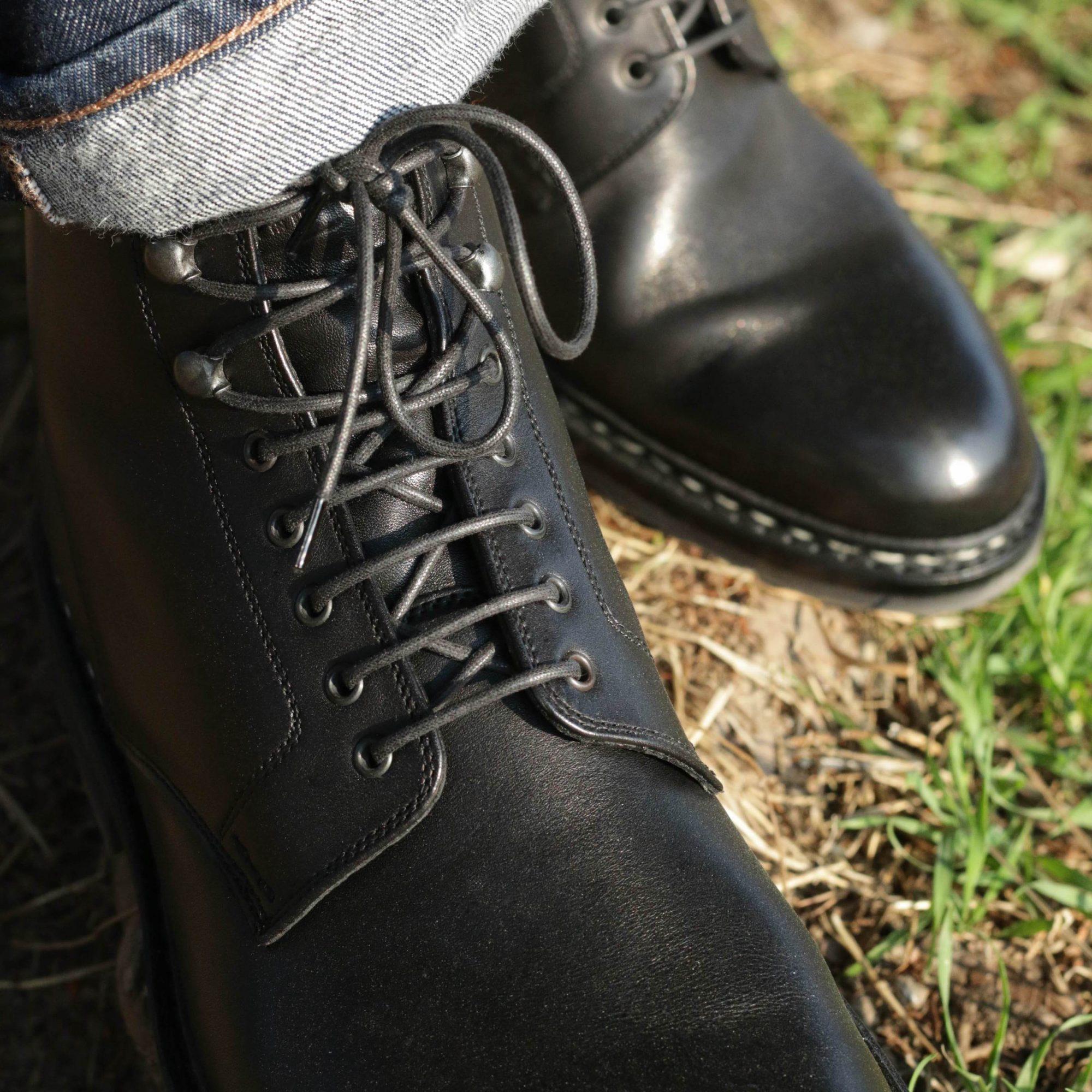 lacets oeillets bottines cuir noir homme
