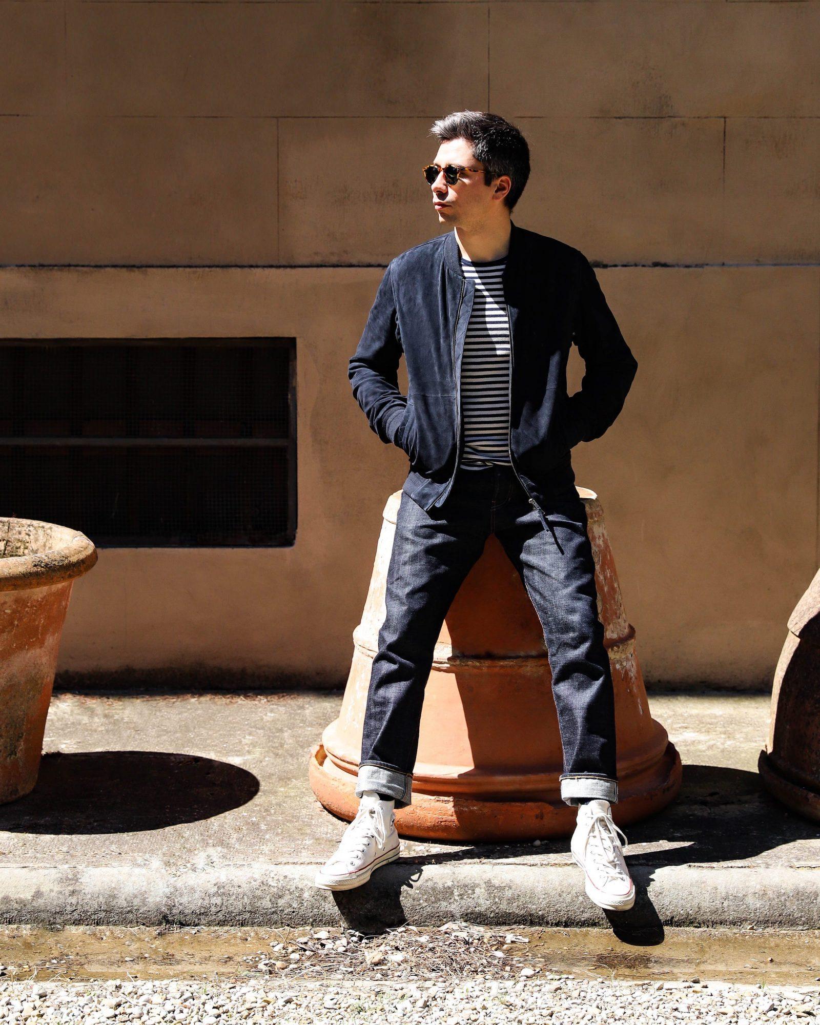 look homme blouson cuir bleu marine jean mariniere