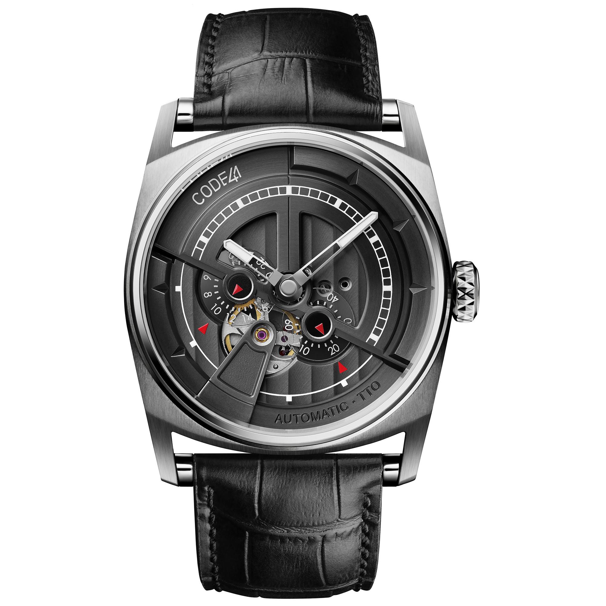 Montre CODE41 Anomaly-01 en acier sur bracelet cuir noir