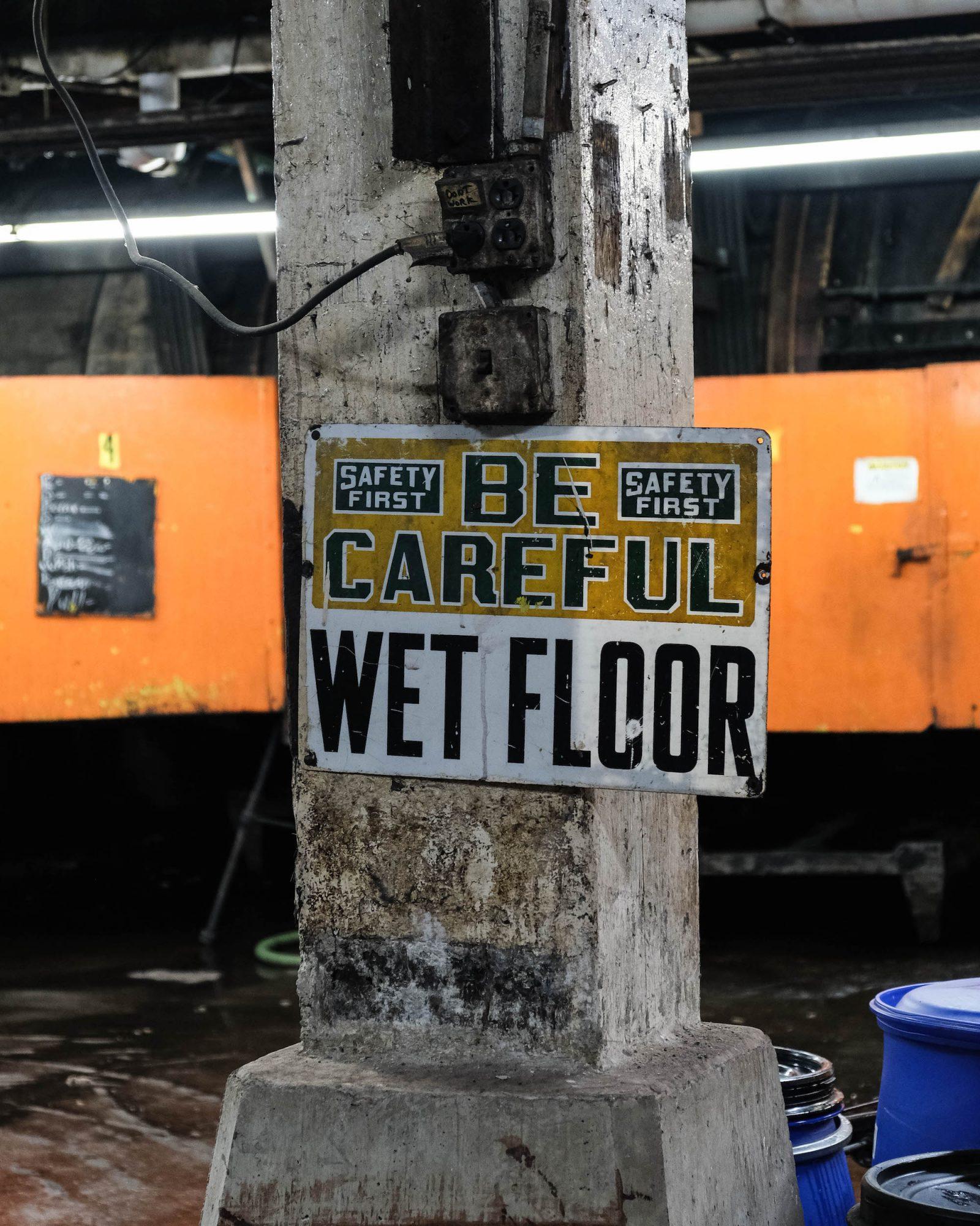 be careful wet floor