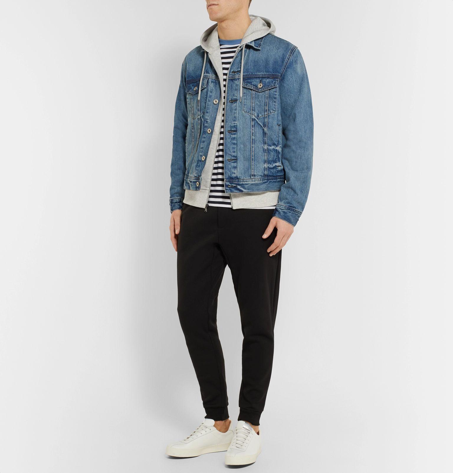 sweat hoodie sur veste en jean homme