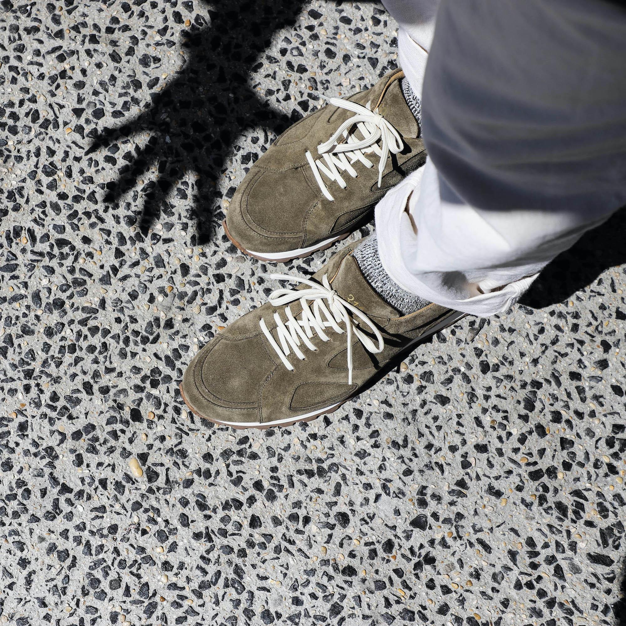 Malfroid Sneakers 310 vert cuir stead veau velours