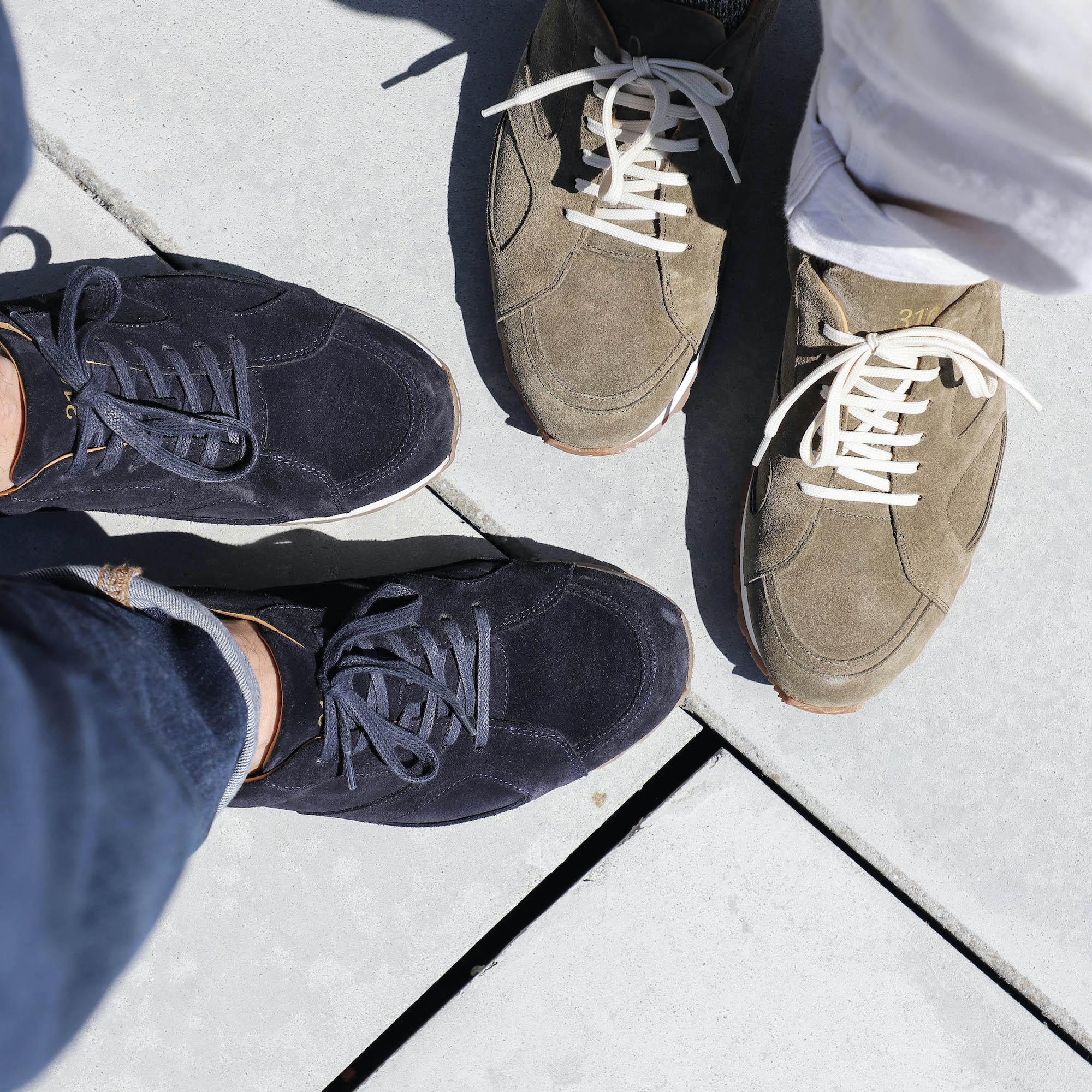 sneakers haut de gamme veau velours