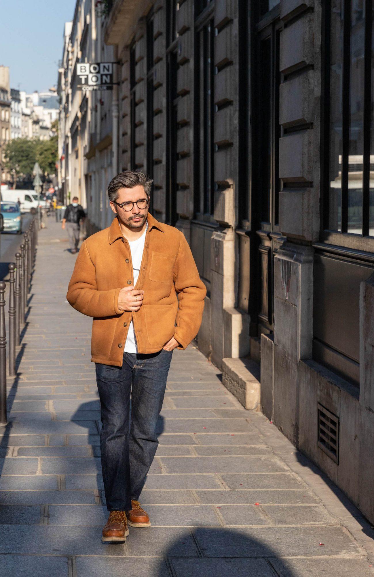 manteau peau lainee cognac mouton retourne