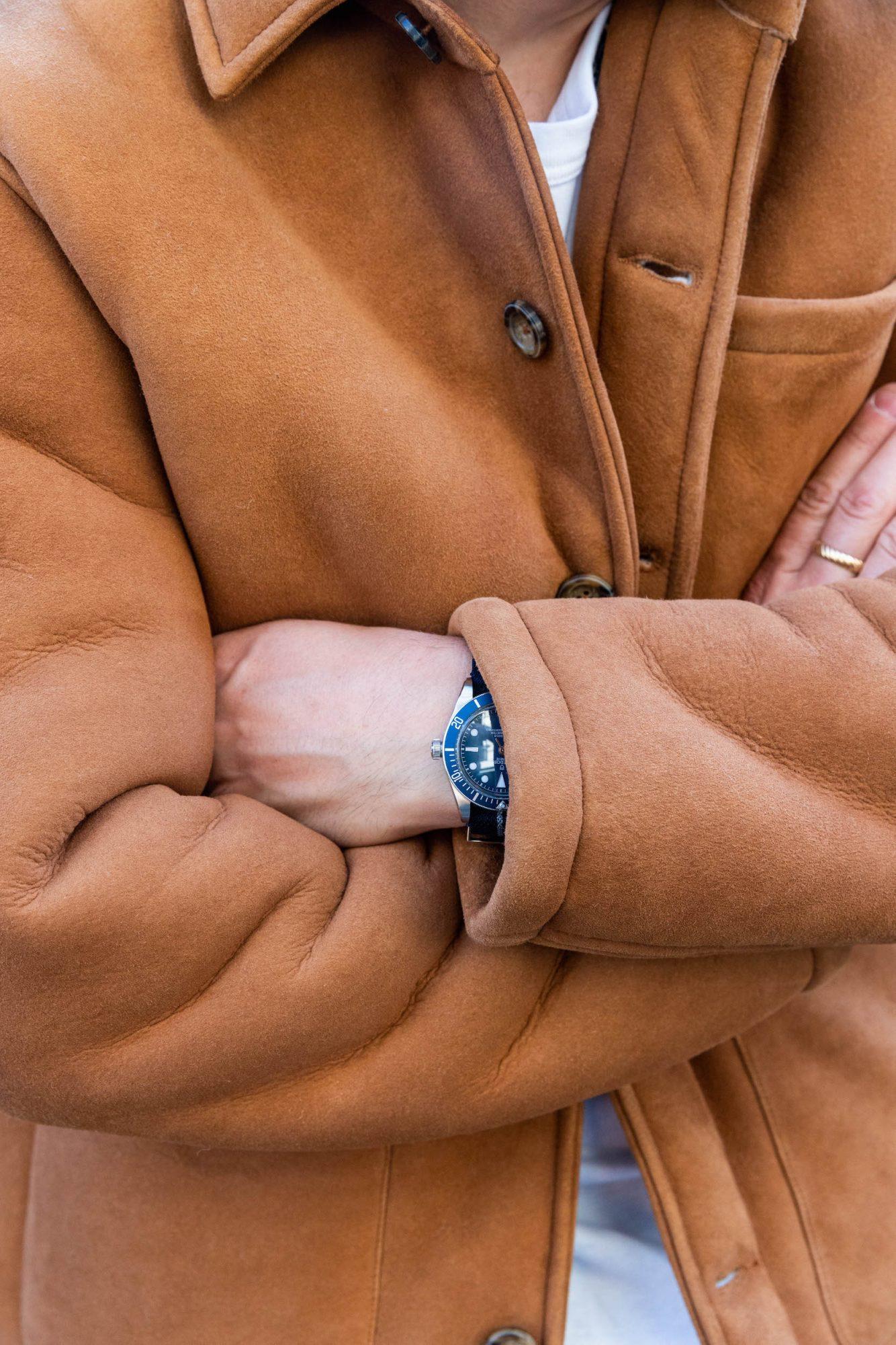 manteau peau lainee homme montre tudor