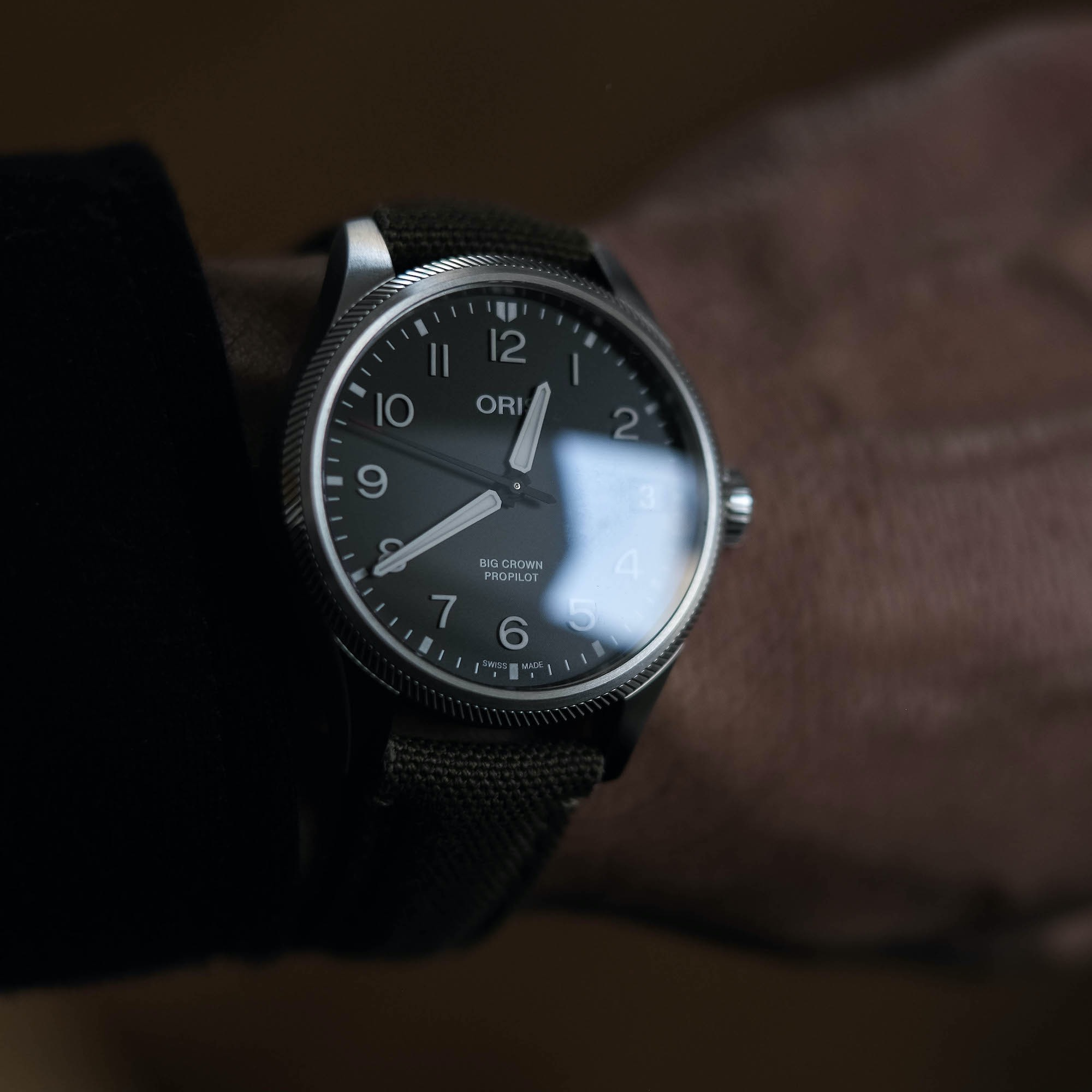 Oris Propilot big crown cadran