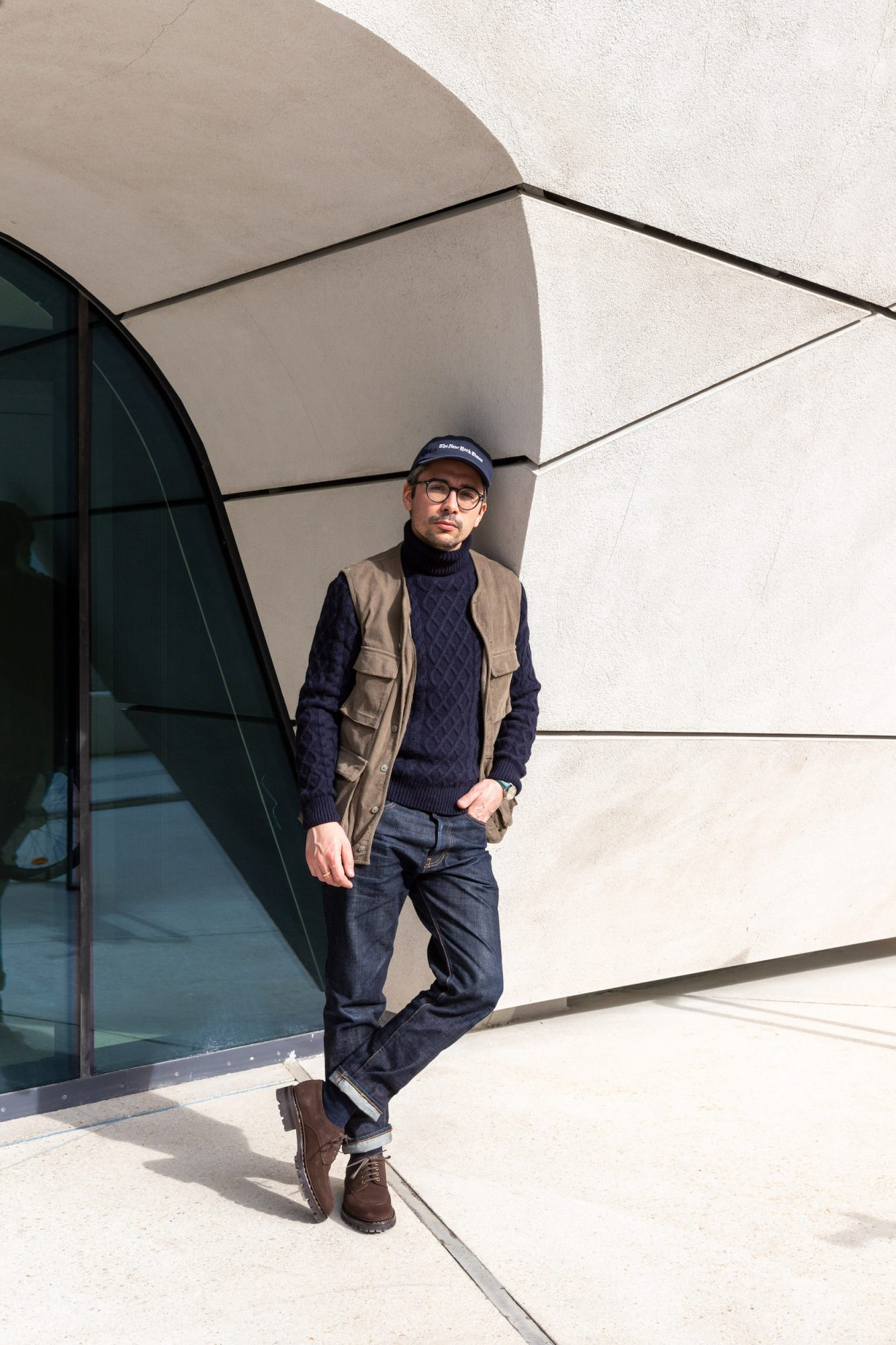 look homme pull laine marin